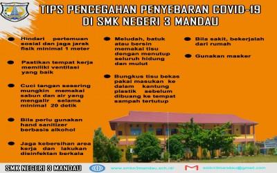 TIPS PENCEGAHAN PENYEBARAN COVID-19 DI SMKN 3 MANDAU
